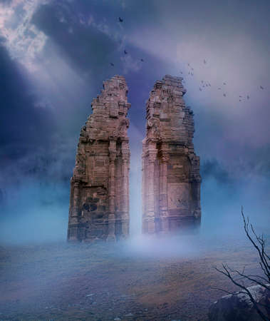 birds desert: view of ruins of old temple in a desert illuminated with a ray of light