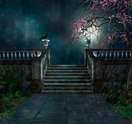 macabere park met een kraai in de nacht Stockfoto