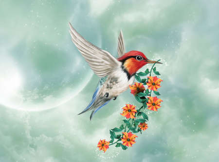 A little hummingbird is flying with a flowered branch Standard-Bild