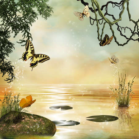 Some butterflies flying over a magic pond