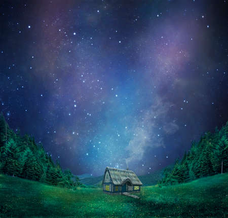 photo manipulation: a cottage in the mountains with a fantastic sky at night