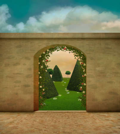 Entrance to a fantasy garden with a large stone wall