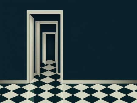 blue room with geometric floor and three open doors