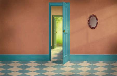 open doors: old house with pattern floor and open doors Stock Photo