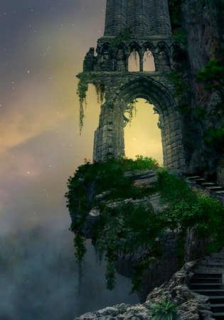 castillo medieval: Fantasía puerta de entrada ruina en una montaña y paisaje con niebla