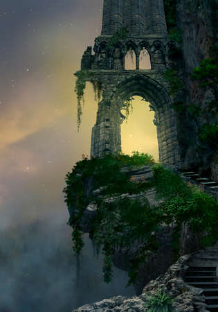 ruin: Fantasy gateway ruin in a mountain and landscape with fog Stock Photo