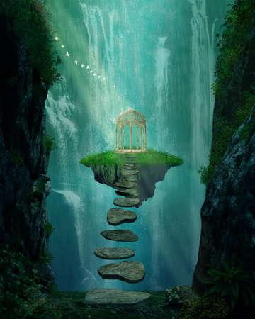 Fantasie eiland met prieel zwevend in de ruimte