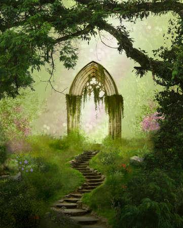 Puerta antigua de la fantasía en un hermoso bosque Foto de archivo - 63596951
