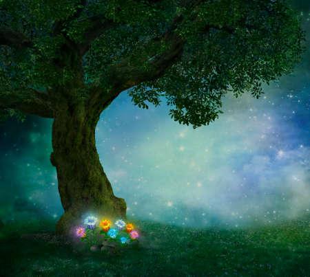 Fantasy flowers shining in a magic field Stock Photo