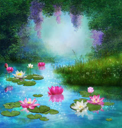 Fantasy pond with beautiful water lilies floating