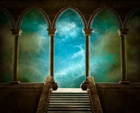 Fantastique galerie avec des colonnes et des escaliers et un beau ciel à l'arrière