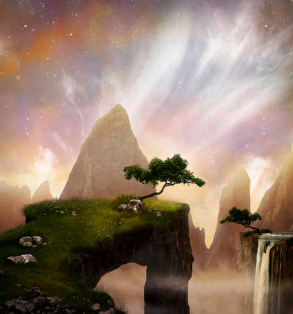Fantasty landscape with beautiful cliffs and mountains