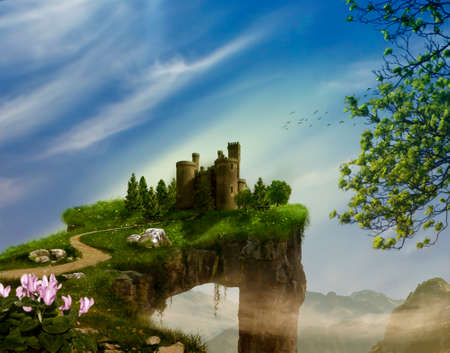 photo manipulation: Fantasy landscape with cliff, castle and mountains. 3 D rendering Stock Photo