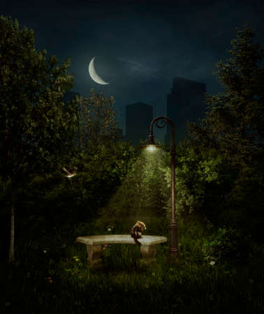 Park by night with a street lamp illuminating a chipmunk. 3 D rendering.