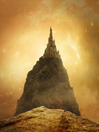 Fantasy golden castle in the mountain with beautiful sky Standard-Bild