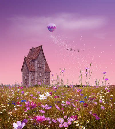 Fantasy field with flowers, a small house, balloon and pink sky. 3D rendering