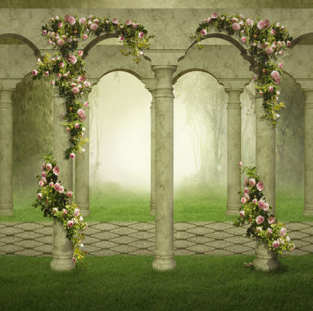 Fantasy garden with columns and roses in a foggy day. 3D rendering