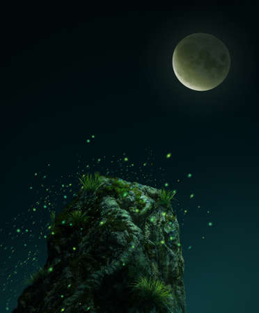 Fantasy stone in the moon light. 3D rendering