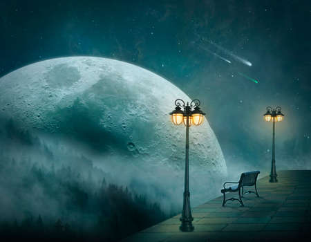 Surreal landscape at night with a big moon, mountains, street lamps and bench in a plattform Standard-Bild