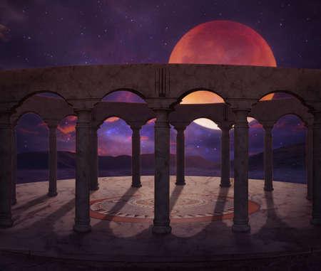 fantastic old temple illuminated by a big full moon at night Standard-Bild