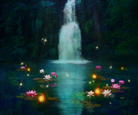 Waterfall at night and pond wiht lilies and dragonflies. Photo manipulation. 3D rendering. Standard-Bild