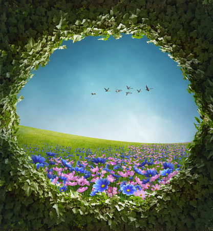 View of beautiful field with flowers and ivy frame. 3D rendering.