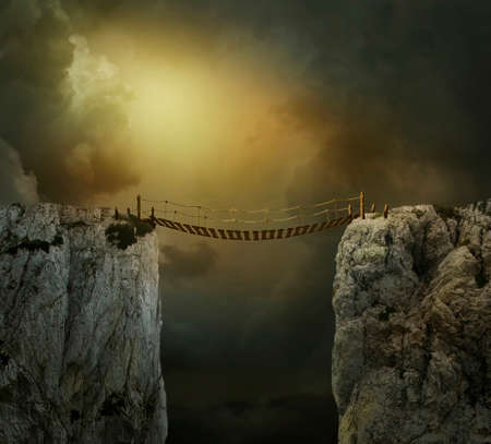 Fantasy landscape with cliffs and bridge. Photo manipulation. 3D rendering.