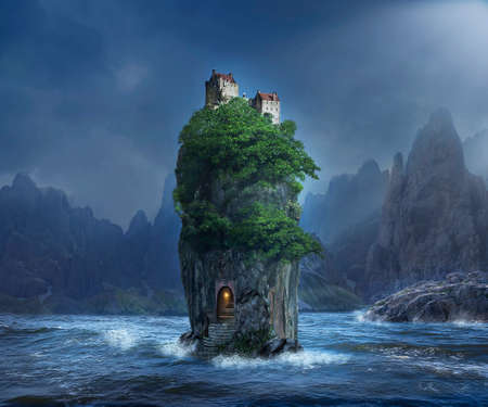 Photomanipulation of an fantastic island with an old castle on the top. Standard-Bild