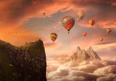 Fantasy landscape with cliff and mountain and balloons floating in the sky. 3D rendering