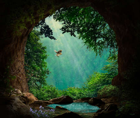Fantasy cave in the mountains. 3D rendering. Standard-Bild