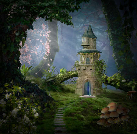 Fantasy castle in the forest. Photomanipulation. 3D rendering 写真素材