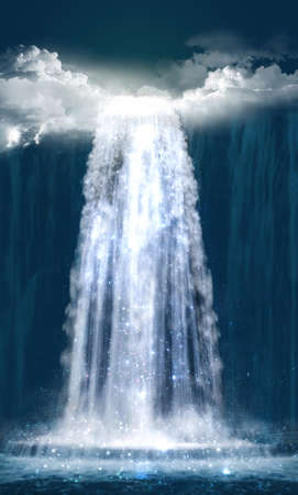 View od a fantasy waterfall at night. Photomanipulation