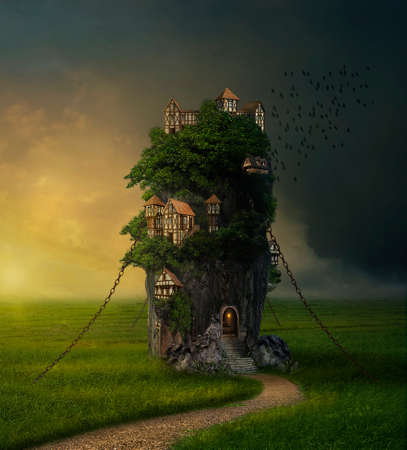 Fantasy rock in the meadow with houses on them. Photomanipulation. 3D rendering