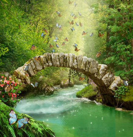 Stone bridge and river in the forest with butterflies. Photomanipulation. 3D rendering. Standard-Bild