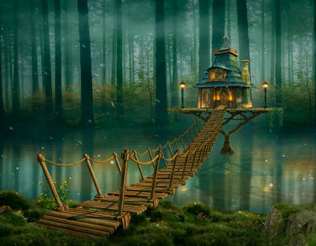 Fairy house on the river and wooden bridge. Photomanipulation. 3D redering. Standard-Bild