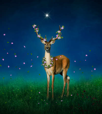 Lovely deer with flowers on his horns at night with a star illuminating him. Photo manipulation. 3D rendering.