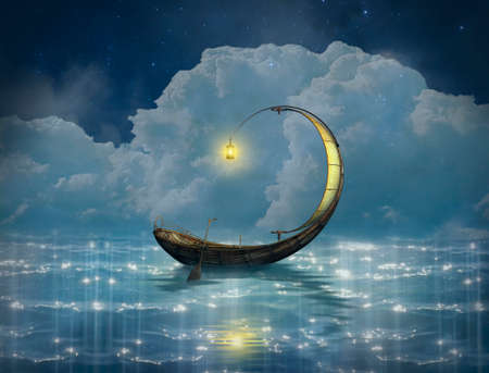 Fantasy boat in a starry night. 3D rendering