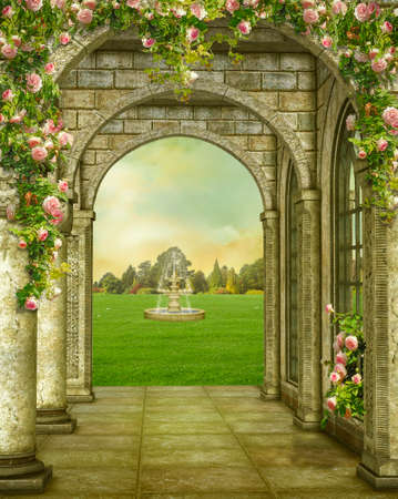 Fantasy stone gallery of a castle with flowers  and fountain in the garden. 3D rendering