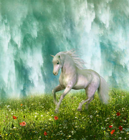 White horse running through the prairie and waterfall in the background. 3D rendering