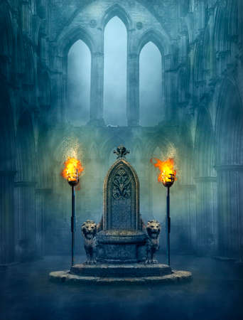 Fantasy medieval scene with a throne and tourches. Photomanipulation. Standard-Bild