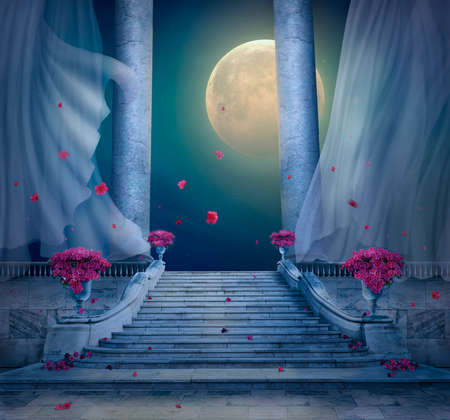 Fantasy nocturnal scene with full moon in a palace with marble stairs. 3 D rendering
