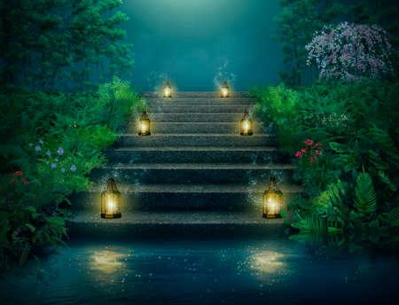 Giardino di fantasia con lanterne che illuminano la scala. Fotomanipolazione, rendering 3D.