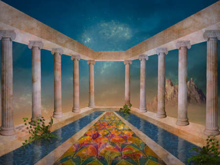 Fantasy garden with fountain and columns. 3D redering.