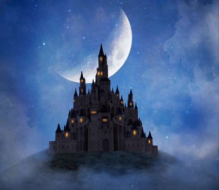 Fantasy castle on the mountain with big moon illuminating. Photo manipulation. 3 D rendering
