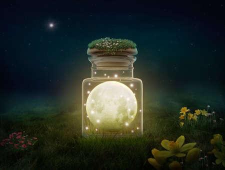 Fantasy moon inside a bottle at night. Photomanipulation. 3D