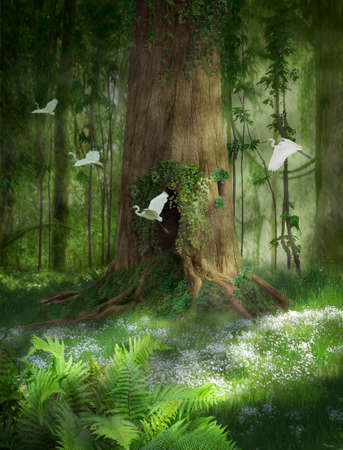 Big tree with hole in the forest and egrets flying. Photo manipulation. 3d rendering 写真素材