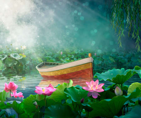 Boat in a fantasy river with lotus plants.Photomanipulation. Illustration. Standard-Bild