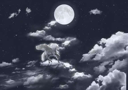 Unicorn in the sky riding on the clouds in a starry night with full moon. Photomanipulation. Illustration.