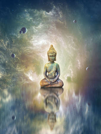 Bodhisattava Buddha meditation in a celestial cave with planets and water reflections providing a beautiful background