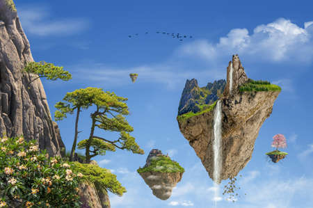 Fantasy landscape with floating islands in a beautiful day. Photomanipulation, illustration, 3D.